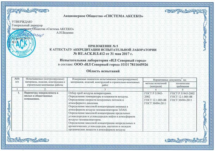 """ООО """"Испытательная лаборатория Северный город"""""""